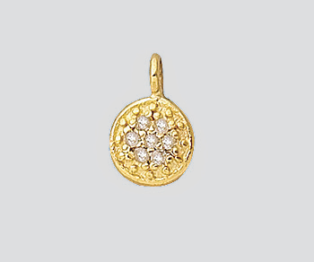 Gold Plated Over Silver Charm W Pave Diamonds Round Disc