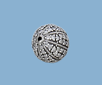 Sterling Silver Beads W Pave Diamonds Water Melon 13mm