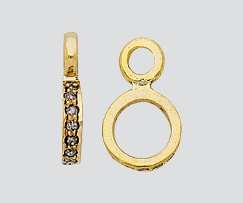 Gold Plated Over Silver Figure 8 Connector With Pave