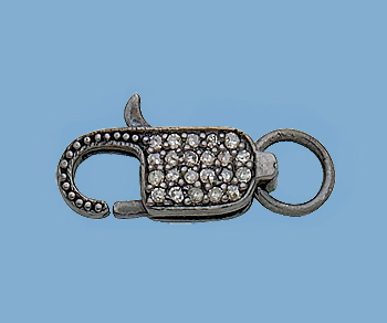 Sterling Silver Lobster Clasp W Pave Diamonds 16x6mm