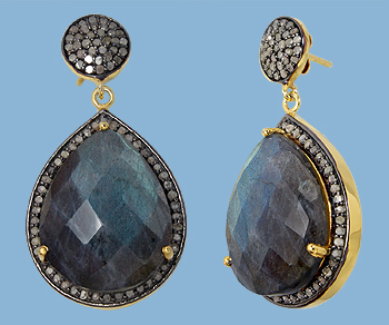Gold Plated Over Silver Earrings W Pave Diamonds