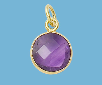 Gold Plated Over Silver Bezelled Pendant Amethyst Round