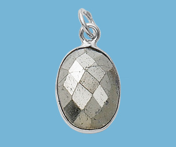 Sterling Silver Bezelled Pendant Pyrite Oval 10x14mm