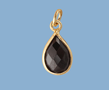 Gold Plated Over Silver Bezel Pendant Black Spinel Pear