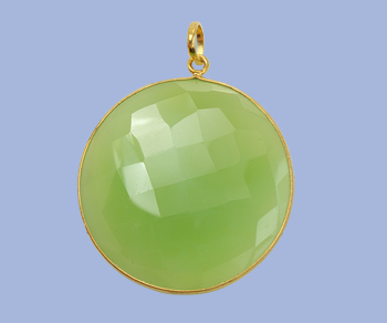 Gold Plated Over Silver Bezelled Pendant Lime Green Onyx
