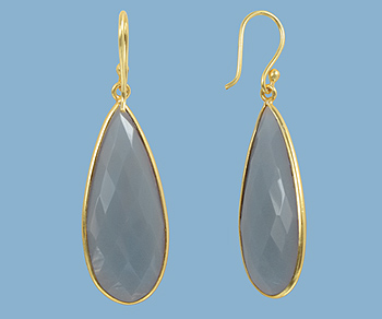 Gold Plated Over Silver Bezelled Earrings Grey Moonstone