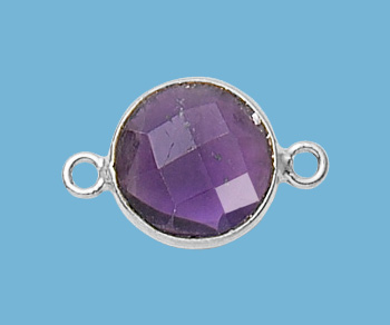 Sterling Silver Bezelled Connector Amethyst Round 11mm