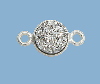 Sterling Silver Bezel Druzy Connector Silver Round 8mm
