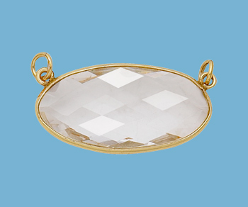 Gold Plated Over Silver Bezel Pendant Clear Quartz Oval