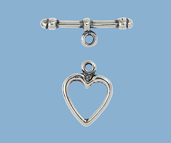 Sterling Silver Toggle Clasp Heart 13mm Wholesale