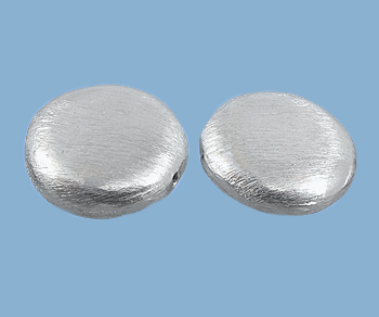 Sterling Silver Beads - Brushed Coin 14x5mm