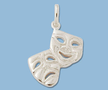Sterling Silver Charm Tragedy Comedy 18 5x21 5mm